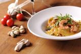 Ravioli and shrimp