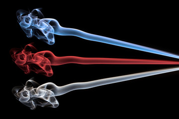Blue, red and white smoke abstract