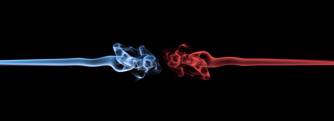 Blue smoke vs red smoke abstract (Ice vs fire)