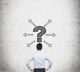 man and  question marks