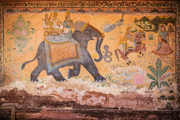 Indian wall painting with elephant and people