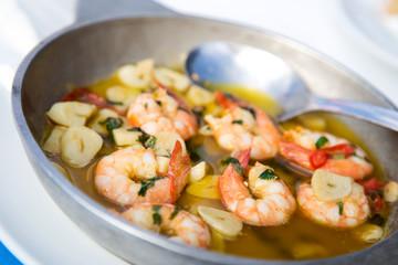 traditional portuguese dish of prawns in garlic