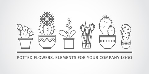 linear design, potted flowers. elements corporate logo.