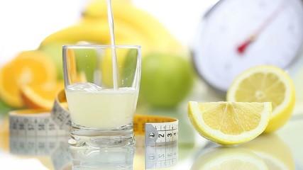 lemon juice poured in glass, fruit meter scale diet food