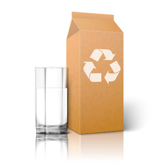 Realistic blank craft paper package with recycle sign and glass