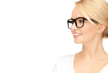 happy and smiling woman in specs