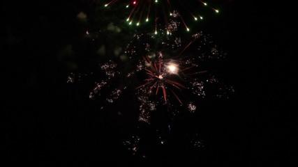 Fireworks in the dark sky