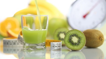 kiwi juice poured in glass, fruit meter scale diet food