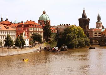 Famous Charles Bridge and tower, Prague