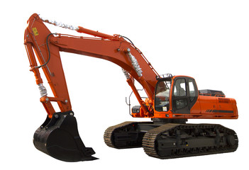 Excavator isolated on white background. Clipping path included