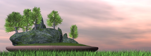 Japanese cedar tree bonsai - 3D render