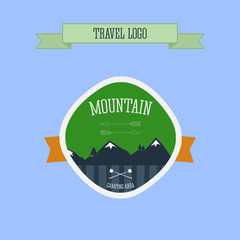 Mountain Camping logo, label and badge. Travel emblem. Vector