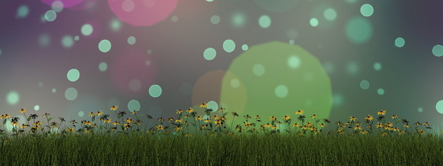 Grass and daisy - 3D render