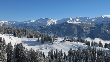 View of the ski area Braunwald, Glarus Canton