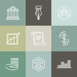 Vector line banking icons and logos