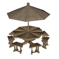 Umbrella table - 3D render