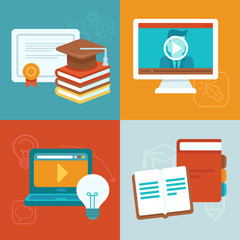 Vector online education concepts