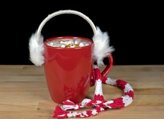 fur ear muffs on hot chocolate drink
