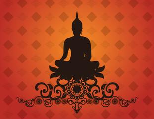 Thai buddha silhouette on pattern background vector illustration
