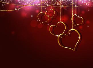 Golden Hearts Valentine Greeting Card