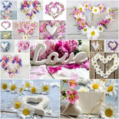 Liebe, Romantik: Collage aus Herzen und Blüten :)