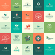 Set of flat design animals and nature icons
