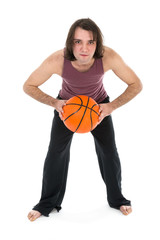 Man in sports wear playing basketball over white