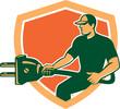 Electrician Carrying Electric Plug Shield Retro