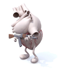 human heart with arms, legs and rifle