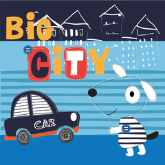 cute dog by car in the city vector illustration
