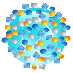 Globe with speech bubbles