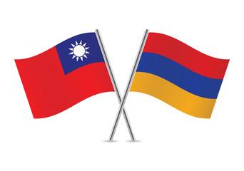 Armenian and Taiwanese flags. Vector illustration.