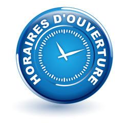 horaires d'ouverture sur bouton bleu