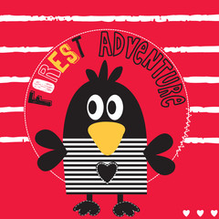 cute black bird adventure striped background vector illustration