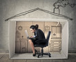 Leinwandbild Motiv Businesswoman working at home