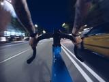 Fototapety Fast biking on roads of night city