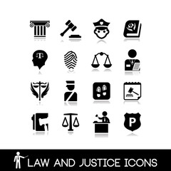 Law and justice icons set 4