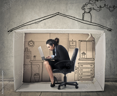 Businesswoman working at home - 76384404