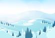 winter mountain landcape flat icon vector