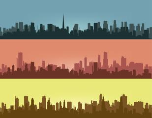 Three coloured contours of city.