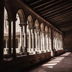 Gothic monastery courtyard