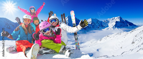 Ski, winter, snow - family enjoying winter vacation - 76385235