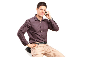 Stylish man talking on a cell phone