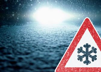 Winter Night Driving - Winter Road - Caution Snow