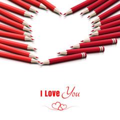 Miłosna kartka walentynkowa z napisem 'I Love You'