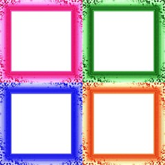Set of four colorful decorative clear photo frames