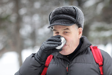 Senior man drinking tea