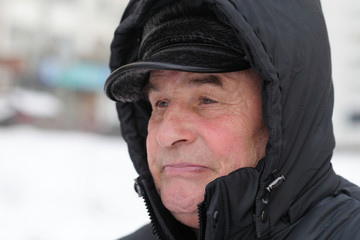 Senior man in winter