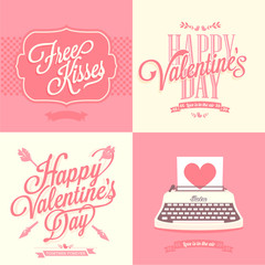 happy valentines day vintage retro cards