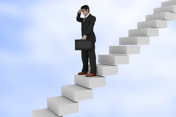 Businessman on the stairs looks back